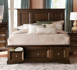 1844DC-1 Traditional Espresso Wood Queen Platform Bed Storage Drawers