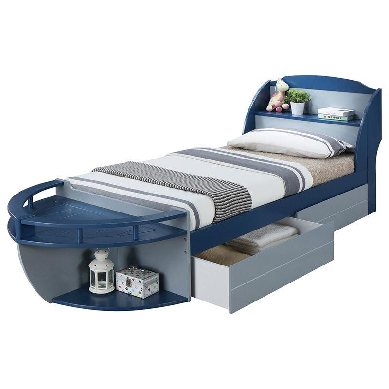 Acme 30620T Neptune II Navy And Gray Twin Storage Boat Bed With Drawer