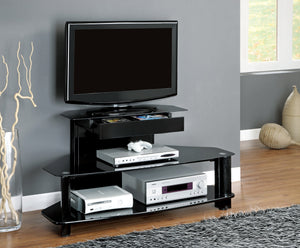 "48""L GLOSSY BLACK WOOD METAL TEMPERED TV STAND"