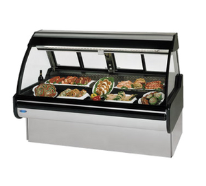 "Federal Industries Curved Glass Refrigerated Red Meat Maxi Case, 72""W x 42""D x 54""H, Stainless Steel Interior & Exterior"