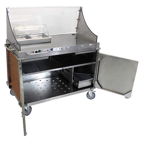 Cadco Serving Counter Hot Food, Mobile Demo/Sampling Cart, Full Size Buffet Server, Stainless Steel Construction