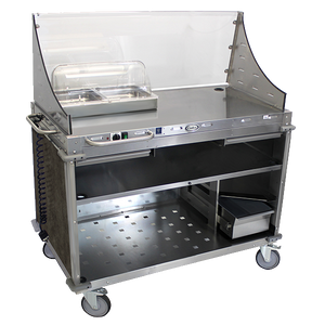 Cadco Serving Counter Hot Food, Mobile Demo/Sampling Cart, Large, Full Size Buffet Server, Stainless Steel Construction