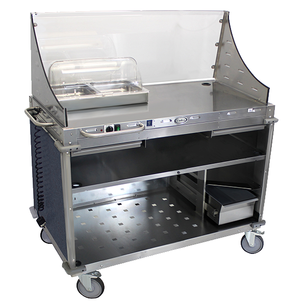 Cadco Service Counter Hot Food, Mobile Demo/Sampling Cart, Large, Full Size Buffet Server, Stainless Steel Construction
