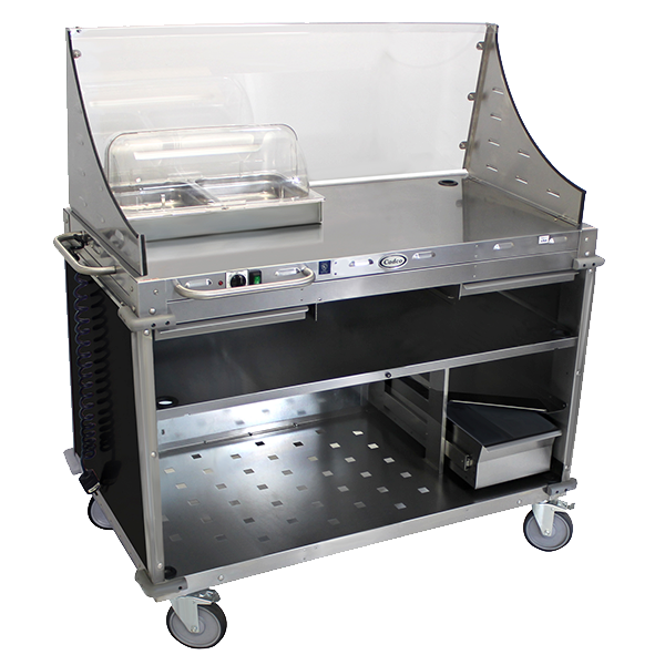 Cadco Mobile Demo/Sampling Cart, Large, Full Size Buffet Server, Open Cabinet Base, Black WilsonArt® Laminate Panels, Stainless Steel Construction