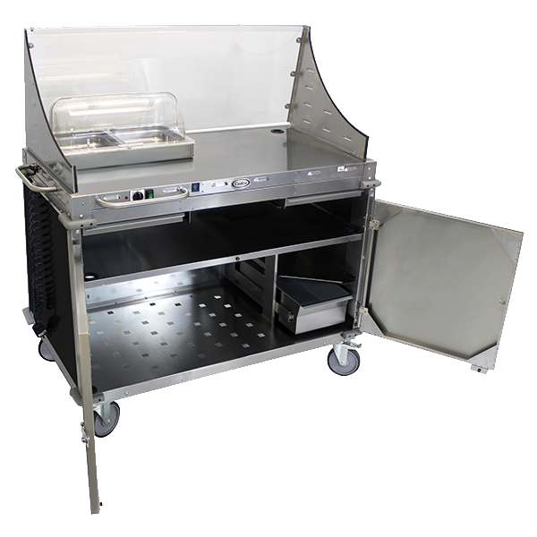 Cadco Mobile Demo/Sampling Cart, Large, Full Size Buffet Server, (2) Solid Locking Doors, Black WilsonArt® Laminate Panels, Stainless Steel Construction