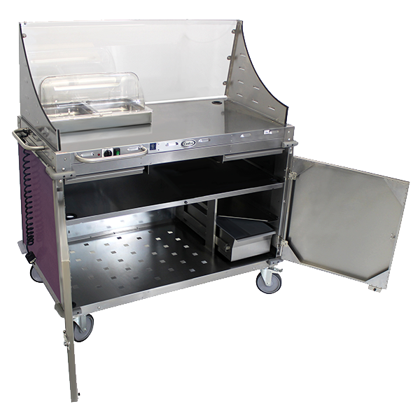 Cadco Mobile Demo/Sampling Cart, Large, Full Size Buffet Server, (2) Solid Locking Doors, Eggplant (Allergen-Free Purple Color Code) WilsonArt® Laminate Panels,  Stainless Steel Construction