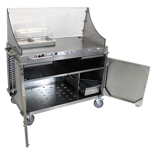 Cadco Mobile Demo/Sampling Serving Cart, Large Full Size Buffet Server, Stainless Steel Panels, Stainless Steel Construction