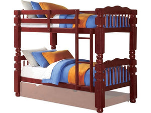 Acme Benji Cherry wood Kids Twin Twin Bunk Bed