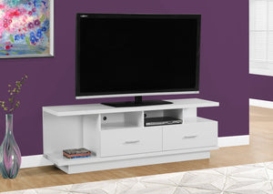 "60""L WHITE WITH 2 DRAWERS TV STAND"
