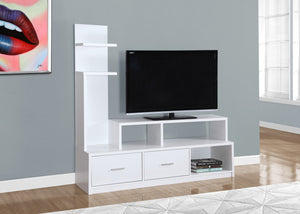 "60""L WHITE WITH A DISPLAY TOWER TV STAND"