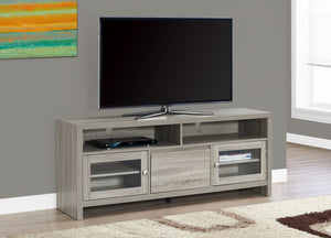 "60""L DARK TAUPE WITH GLASS DOORS TV STAND"