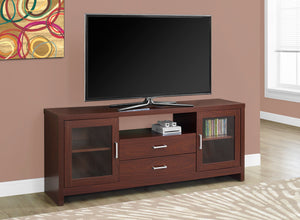 "60""L WARM CHERRY DRAWERS GLASS DOORS TV STAND"