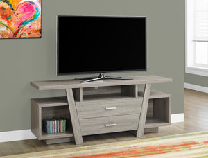 "60""L DARK TAUPE WITH 2 STORAGE DRAWERS TV STAND"