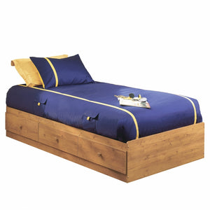 Twin size Platform Bed with 3 Storage Drawers in Country Pine Finish