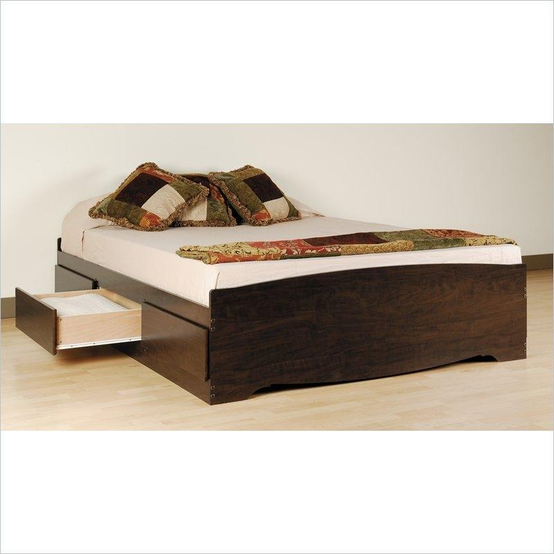 Twin XL Espresso Brown Platform Bed w- Headboard and Storage Drawers