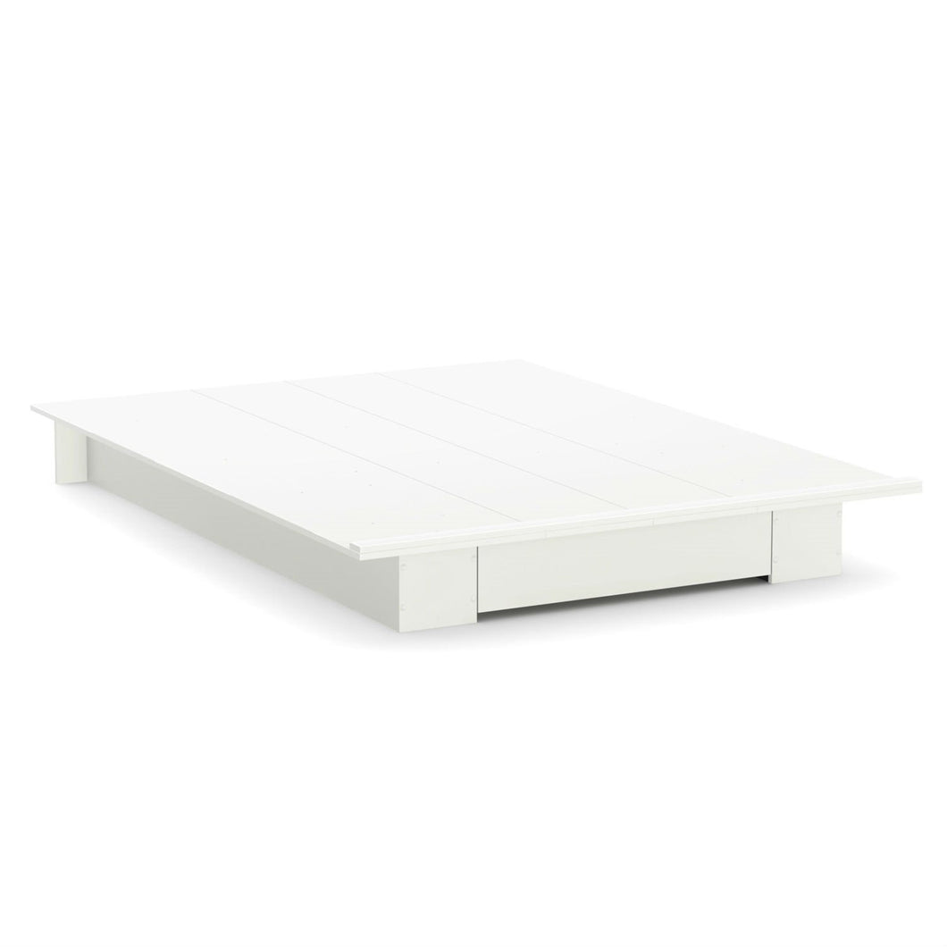 Queen size White Modern Platform Bed Frame with Bottom Storage Drawer
