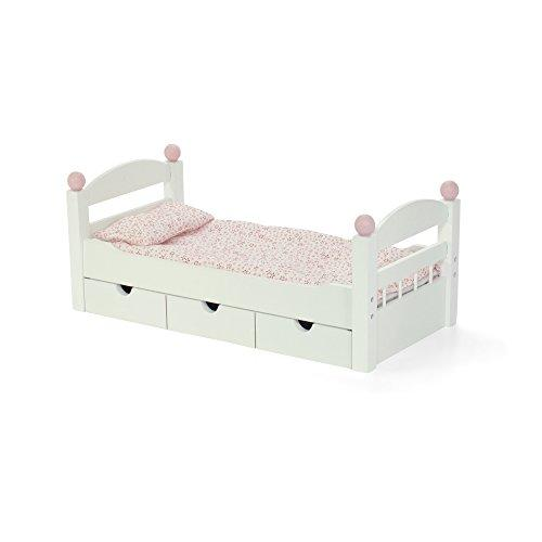 18-Inch Doll Furniture | Stackable White Trundle Bed With Bedding | Fits American 18 Girl Dolls