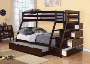 Acme Jason Twin/Full Bunk Bed w/ Storage Ladder and Trundle in Espresso 37015