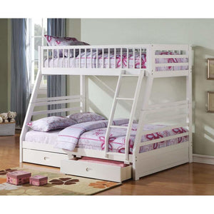 Acme Jason Twin Over Full Bunk Bed with 2 Drawer in White Finish 37040