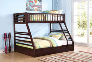 Acme Jason Twin XL/Queen Bunk Bed with Drawer in Espresso Finish 37425