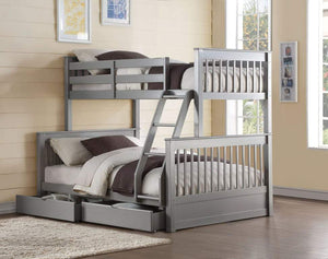 Acme Haley II Twin Over Full Bunk Bed with 2 Drawers in Gray Finish 37755