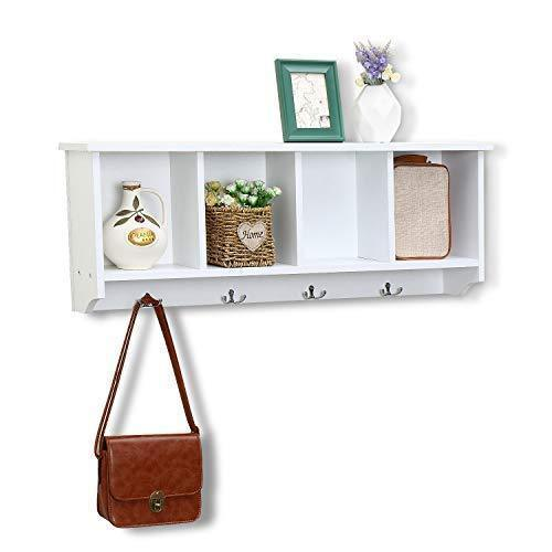Top rated love furniture floating shelf coat rack wall mounted cabinets hanging entryway shelf w 4 hooks storage cubbies organizer white