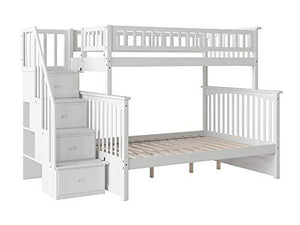 Atlantic Furniture AB55702 Columbia Staircase Bunk Bed, Twin/Full, White