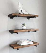 Load image into Gallery viewer, Discover 3 rustic floating shelves industrial wood shelves wall storage shelf natural wood wall mounted shelves with industrial shelving pipe brackets for bedrooms nursery kitchen by domestics 101 walnut