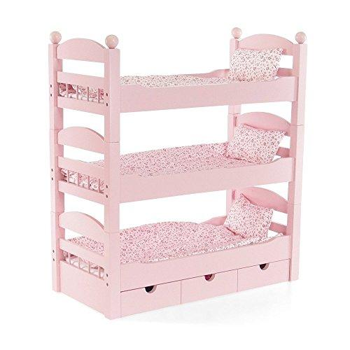 18 Inch Doll Triple Bunk Bed - Stackable Wooden Furniture Made To Fit American Girl Or Other 18 Dolls