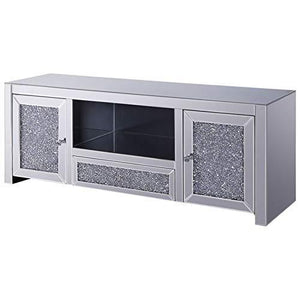ACME Furniture 91450 Noralie TV Stand Mirrored and Faux Diamonds