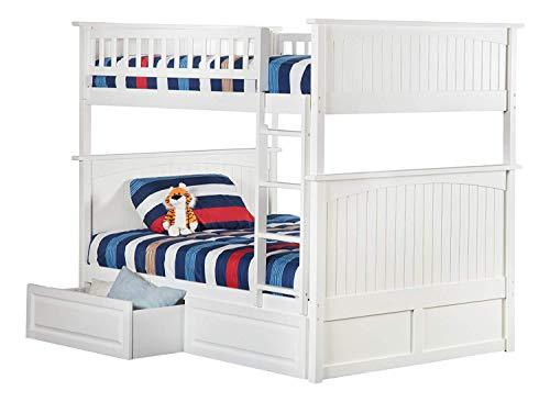 Atlantic Furniture AB59522 Nantucket Bunk Bed with 2 Raised Panel Bed Drawers, Full/Full, White