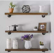 Load image into Gallery viewer, Budget 3 rustic floating shelves industrial wood shelves wall storage shelf natural wood wall mounted shelves with industrial shelving pipe brackets for bedrooms nursery kitchen by domestics 101 walnut
