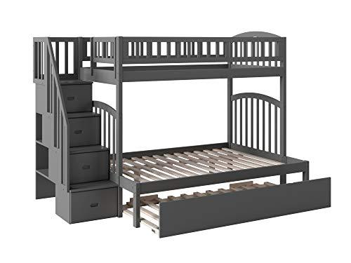 Atlantic Furniture AB65759 Westbrook Staircase Bunk Bed with Urban Trundle Bed, Twin/Full, Grey