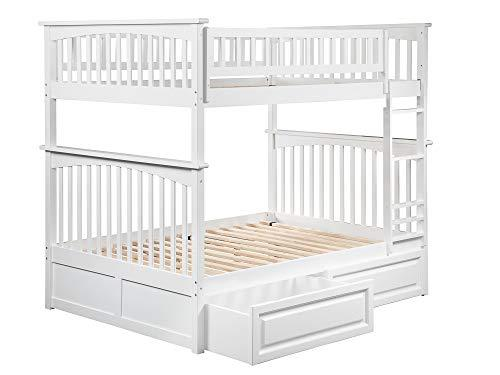 Atlantic Furniture AB55522 Columbia Bunk Bed with 2 Raised Panel Bed Drawers, Full/Full, White