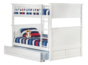 Atlantic Furniture AB59532 Nantucket Bunk Bed with Twin Size Raised Panel Trundle, Full/Full, White