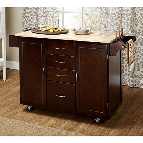Contemporary Mobile Kitchen Island Rolling Wood Cart 4-Storage Drawers and 2-Cabinets Adjustable Shelf Espresso Finish