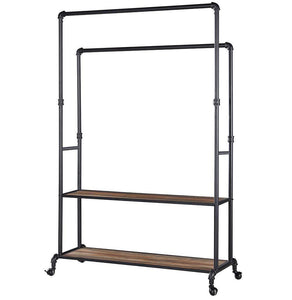 Cheap homissue 72 inch industrial pipe double rail hall tree with shoe storage on wheel 2 shelf rolling clothes rack organizer with 2 hanging rod for garment storage display vintage brown