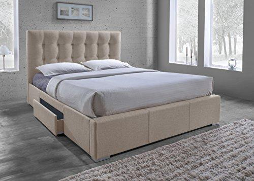 Baxton Studio CF8498-King-Brown Sarter Contemporary Grid-Tufted Fabric Upholstered Storage Bed with 2 Drawers, King, Light Brown