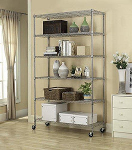 Explore home it 6 shelf commercial adjustable steel shelving systems on wheels wire shelves shelving unit or garage shelving storage racks
