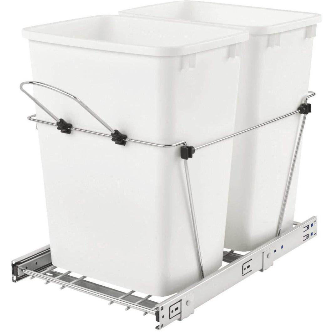 Organize with rev a shelf 35 quart double waste container silver