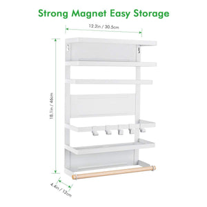 The best refrigerator organizer rack magnetic kitchen magnetic holder with hook strong power magnet for paper towel holder rustproof spice jars rack refrigerator shelf storage hanger oganizer tool 19 x13x5 3in