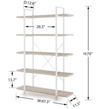Load image into Gallery viewer, Budget homissue 5 shelf modern style bookshelf light oak shelves and white metal frame display storage rack for collection 70 0 inch height