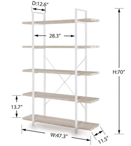 Budget homissue 5 shelf modern style bookshelf light oak shelves and white metal frame display storage rack for collection 70 0 inch height