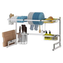 Load image into Gallery viewer, Latest over the sink dish drying rack dish drainer for kitchen sink stainless steel over the sink shelf storage rack sink length 32 5 inch