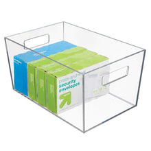 Load image into Gallery viewer, Storage organizer mdesign plastic storage bin with handles for office desk book shelf filing cabinet organizer for sticky notes pens notepads pencils supplies 12 long 6 pack clear