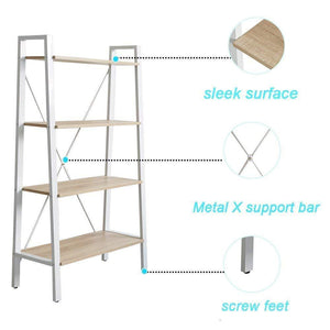 Purchase dporticus 2 set 4 tier modern ladder bookshelf free standing open bookcase storage shelf units display stand oak white 31 4 l x13 w x52 5 h