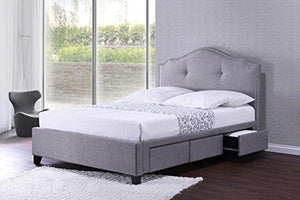 Baxton Studio BBT6329-Queen-Grey Armeena Linen Modern Storage Bed with Upholstered Headboard, Queen, Grey