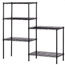 Load image into Gallery viewer, Best seller  detailorpin changeable assembly floor standing carbon steel storage rack multipurpose shelf display rack for kitchen garage bedroom storage display shelves us stock black