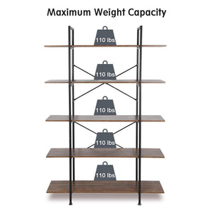 Products cocoarm 5 tier vintage industrial rustic bookshelf wall mountable bookcase in wood and metal ladder shelf for living room or office organizer storage bookshelf