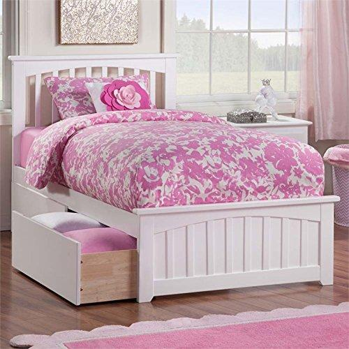 Atlantic Furniture Eco-Friendly Twin XL Bed with 2-Urban Bed Drawer (White Finish)